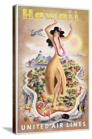 Poster Advertising Flights to Hawaii with United Air Lines, C.1950--Stretched Canvas Print