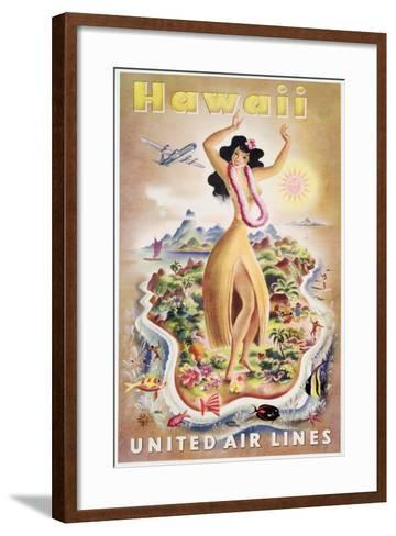 Poster Advertising Flights to Hawaii with United Air Lines, C.1950--Framed Art Print