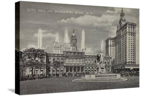 City Hall and Municipal Building, New York City, Usa--Stretched Canvas Print