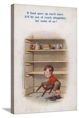 Little Boy Reaching for Top Shelf of Rationed Food--Stretched Canvas Print
