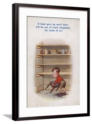 Little Boy Reaching for Top Shelf of Rationed Food--Framed Art Print