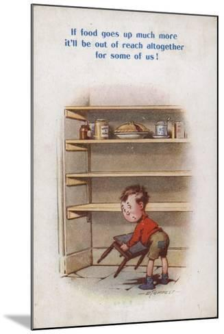 Little Boy Reaching for Top Shelf of Rationed Food--Mounted Giclee Print