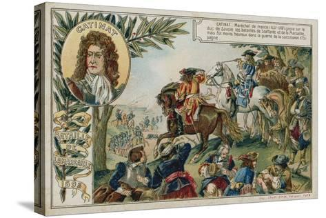 Trade Card with an Image Depicting the Battle of Marsaglia--Stretched Canvas Print