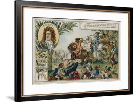 Trade Card with an Image Depicting the Battle of Marsaglia--Framed Art Print