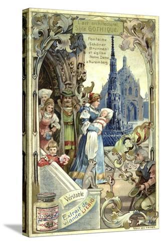 Gothic Architecture; Schoener Brunnen Fountain and Frauenkirche, Nuremberg--Stretched Canvas Print