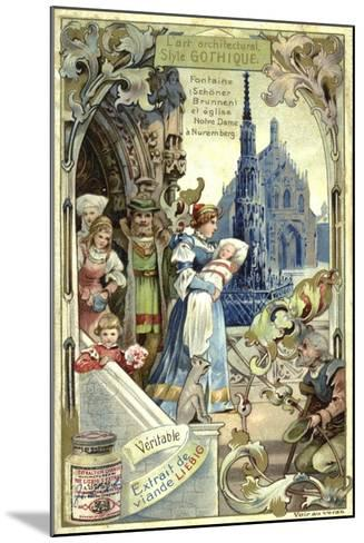 Gothic Architecture; Schoener Brunnen Fountain and Frauenkirche, Nuremberg--Mounted Giclee Print