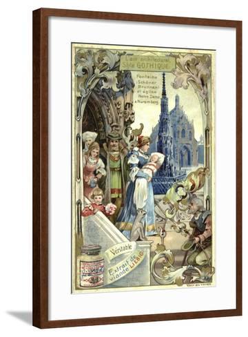 Gothic Architecture; Schoener Brunnen Fountain and Frauenkirche, Nuremberg--Framed Art Print