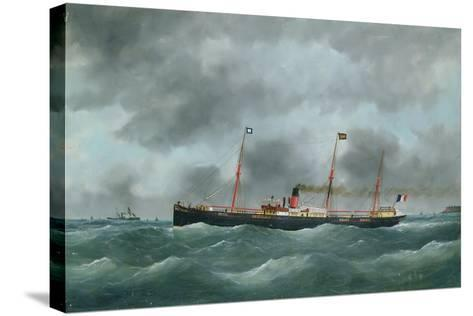 Cargo Steamship Flying the Flag of the Le Havre Peninsular Company--Stretched Canvas Print