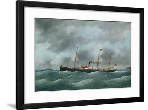 Cargo Steamship Flying the Flag of the Le Havre Peninsular Company--Framed Art Print