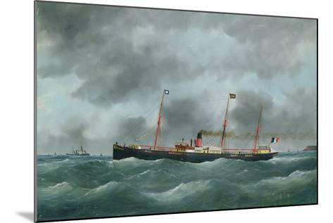 Cargo Steamship Flying the Flag of the Le Havre Peninsular Company--Mounted Giclee Print