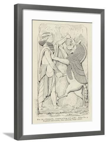 Persepolis, Combat of King with Griffin, Palace No 3--Framed Art Print