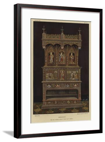 Carved, Painted and Gilded Wooden Dresser, 15th Century--Framed Art Print