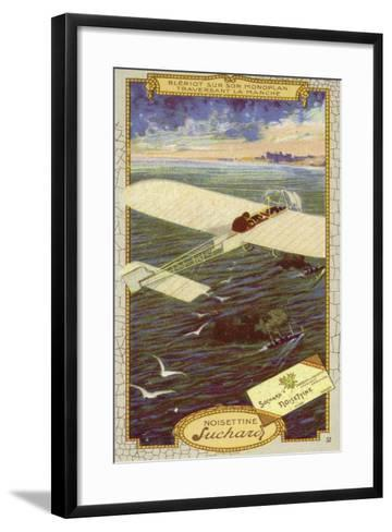 Louis Bleriot in His Monoplane Crossing the Emglish Channel, 1909--Framed Art Print