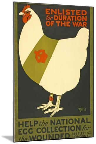 Enlisted for Duration of the War, Pub. London, C.1915--Mounted Giclee Print