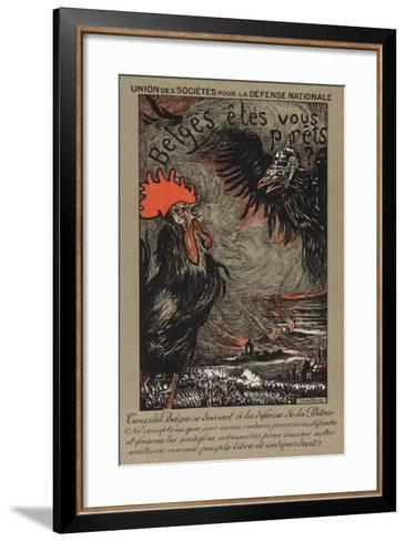 Belgian Cockerel Being Threatened by the German Eagle--Framed Art Print