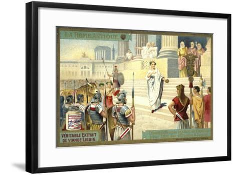 Victor Visiting the Capitol to Make Offerings to Jupiter, Ancient Rome--Framed Art Print