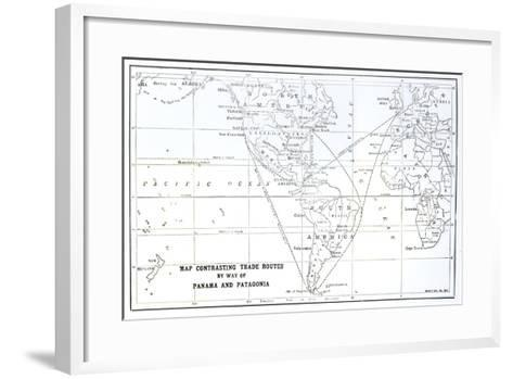Map Contrasting Trade Routes by Way of Panama and Patagonia--Framed Art Print