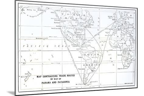 Map Contrasting Trade Routes by Way of Panama and Patagonia--Mounted Giclee Print