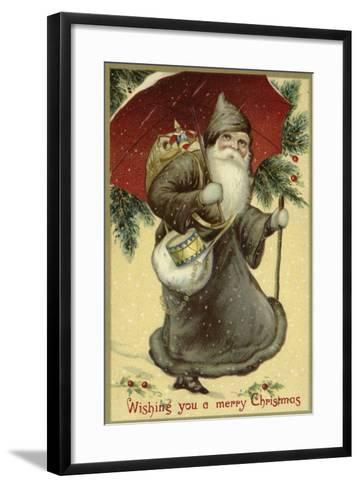 Father Christmas in a Fur Coat, Carrying Presents--Framed Art Print