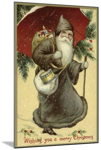 Father Christmas in a Fur Coat, Carrying Presents--Mounted Giclee Print