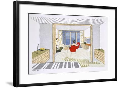 A Veranda Cabin Aboard the SS Oriana, from a Promotional Brochure--Framed Art Print