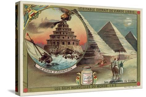 The Lighthouse of Alexandria and the Pyramids of Giza, Egypt--Stretched Canvas Print