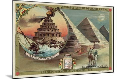 The Lighthouse of Alexandria and the Pyramids of Giza, Egypt--Mounted Giclee Print