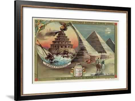 The Lighthouse of Alexandria and the Pyramids of Giza, Egypt--Framed Art Print