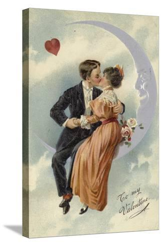 Valentine's Card, Involving Couple Kissing on the Moon--Stretched Canvas Print