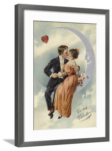 Valentine's Card, Involving Couple Kissing on the Moon--Framed Art Print