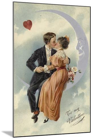 Valentine's Card, Involving Couple Kissing on the Moon--Mounted Giclee Print