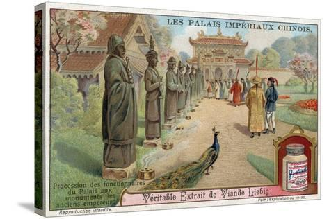Palace Officials Visiting the Statues of Old Emperors, China--Stretched Canvas Print