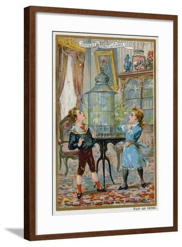 Two Children Wondering Where their Pet Caged Bird Has Escaped To--Framed Art Print