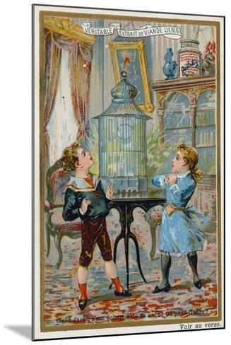 Two Children Wondering Where their Pet Caged Bird Has Escaped To--Mounted Giclee Print