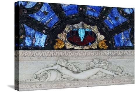 Statue in Marble and Stained Glass, Tettuccio Thermal Baths--Stretched Canvas Print