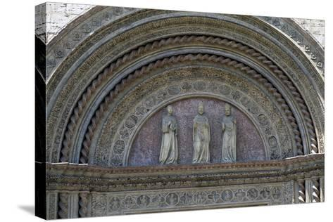 Statues of Patron Saints, Lunette from Main Entrance, Palazzo Dei Priori--Stretched Canvas Print