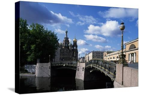 Bridges over Moika River and Cathedral of Resurrection of Christ--Stretched Canvas Print