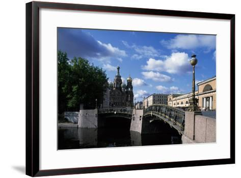 Bridges over Moika River and Cathedral of Resurrection of Christ--Framed Art Print