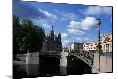 Bridges over Moika River and Cathedral of Resurrection of Christ--Mounted Giclee Print