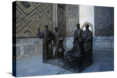 Monument to the Uzbek Scientists, Ulugh Beg Madrasah--Stretched Canvas Print