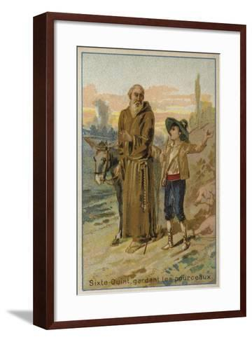 Pope Sixtus V as a Child, Looking after a Herd of Pigs--Framed Art Print