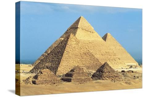 Egypt, Cairo, Ancient Memphis, Pyramids at Giza, Pyramid of Khafre--Stretched Canvas Print