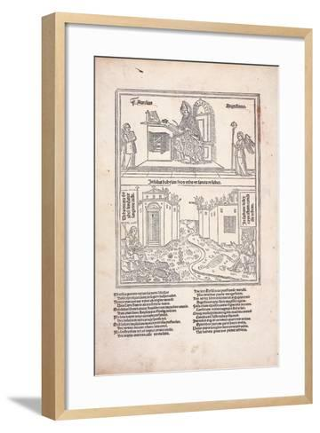 St. Augustine at His Desk and the Cities of Babylon and Zion, 1489--Framed Art Print