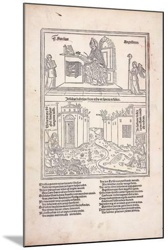 St. Augustine at His Desk and the Cities of Babylon and Zion, 1489--Mounted Giclee Print
