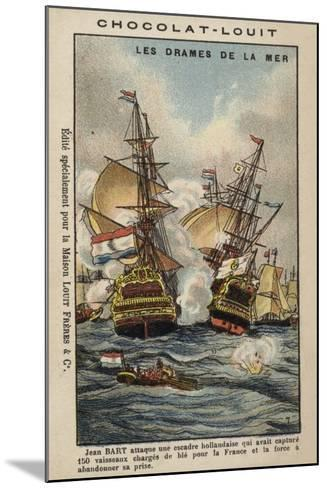 French Privateer Jean Bart Attacking the Dutch, 1694--Mounted Giclee Print