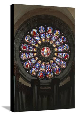 Rose Window and Stained-Glass Window, Cathedral of Notre-Dame--Stretched Canvas Print