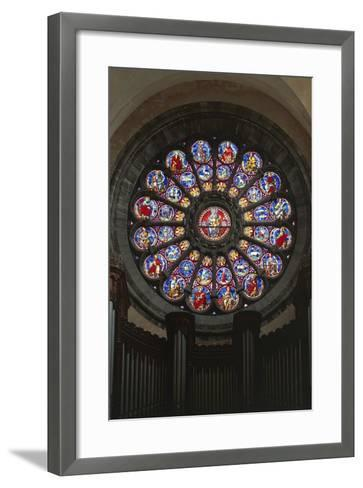 Rose Window and Stained-Glass Window, Cathedral of Notre-Dame--Framed Art Print
