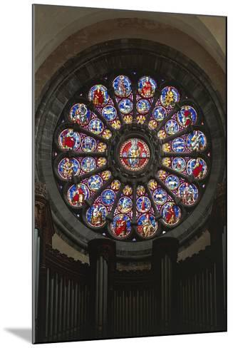 Rose Window and Stained-Glass Window, Cathedral of Notre-Dame--Mounted Giclee Print