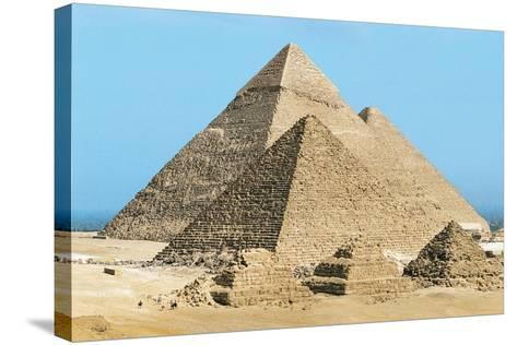 Egypt, Cairo, Ancient Memphis, Pyramids at Giza, Pyramid of Khafre--Stretched Canvas Print
