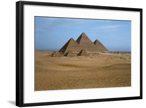 Egypt, Cairo, Ancient Memphis Pyramids at Giza. Pyramid of Khafre--Framed Art Print